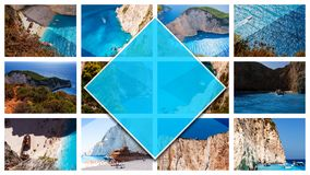 Kolaż fotografii Zakynthos wyspa - Grecja, w 16:9 formacie zdjęcie stock