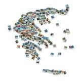 kolaż Greece zrobił mapy fotografii podróży Zdjęcia Stock