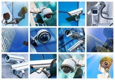 Kolaż kamera bezpieczeństwa i miastowy wideo Zdjęcia Stock