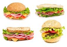 Kolaż kanapki odizolowywać na białym tle Fotografia Stock