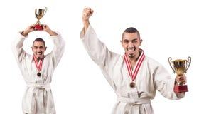 Kolaż karate gracz w kimonie odizolowywającym na bielu zdjęcie royalty free