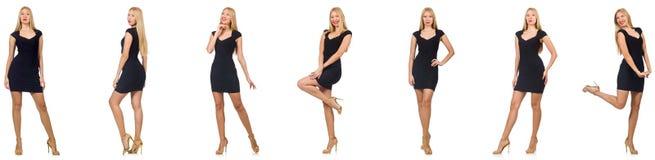 Kolaż kobieta w mody spojrzeniu odizolowywającym na bielu Fotografia Stock