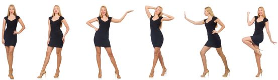 Kolaż kobieta w mody spojrzeniu odizolowywającym na bielu Zdjęcia Stock