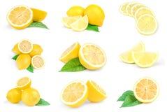 Kolaż limons na białym tle Ścinek ścieżka Obraz Royalty Free