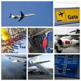 kolaż lotniskowa podróż zdjęcia royalty free
