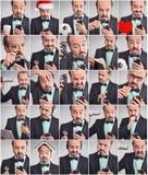 Kolaż mężczyzna używa telefon w różnych emocjach zdjęcia royalty free