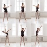 Kolaż młoda baleriny pozycja w baletniczych pozach zdjęcie royalty free