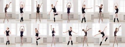 Kolaż młoda baleriny pozycja w baletniczych pozach zdjęcia stock