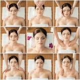 Kolaż młode kobiety na zdroju masażu procedurach Obrazy Royalty Free