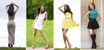 Kolaż młode kobiety w seksownej sukni zdjęcie royalty free