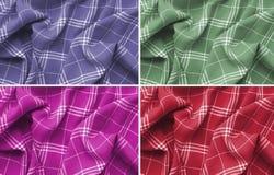 Kolaż menchie, purpury, zieleń i czerwonej w kratkę szkockiej kraty odzieżowy materiał, Zamyka w g?r? makro- widoku Sukienny t?o  zdjęcie stock