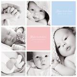 Kolaż nowonarodzone dziecko fotografie zdjęcia stock