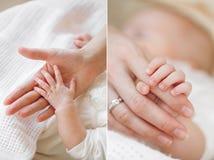 Kolaż nowonarodzony dziecko w jego matki rękach Zdjęcia Stock
