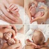 Kolaż nowonarodzony dziecko w jego matki rękach Fotografia Royalty Free