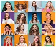 Kolaż od portretów kobiety z uśmiechniętym wyrazem twarzy Obraz Stock