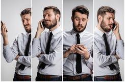 Kolaż od wizerunków opowiada na telefonie na szarości uśmiechnięty mężczyzna obraz stock