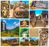 Kolaż od wizerunków Polonnaruwa, Sri Lanka kapitał Ceylon, - świątynny i średniowieczny zdjęcia stock