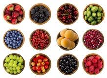 Kolaż owoc i jagody odizolowywający na białym tle Odgórny widok Obrazy Royalty Free