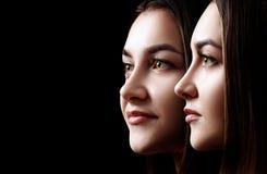 Kolaż piękna żeńska twarz z doskonalić skórą zdjęcie stock