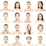 Kolaż piękni, zdrowi i młodzi zdrojów portrety, Twarze różne kobiety Twarz udźwig, skincare, chirurgia plastyczna zdjęcia stock