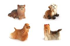 Kolaż porcelana psy odizolowywający na białym tle fotografia stock