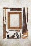 Kolaż pracy drewno wytłacza wzory cieśli tworzy ramę Obrazy Royalty Free