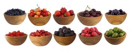 Kolaż różne owoc i jagody odizolowywający na bielu Obraz Royalty Free