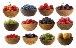 Kolaż różne owoc i jagody odizolowywający na bielu Fotografia Stock