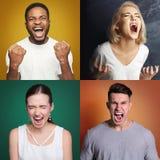 Kolaż różni krzyczący ludzie Zdjęcie Stock