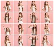Kolaż różni ludzcy wyrazy twarzy, emocje i uczucia młoda nastoletnia dziewczyna, fotografia royalty free