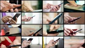 Kolaż różni ludzie wręcza texting SMS na smartphones zbiory wideo