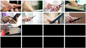 Kolaż różni ludzie wręcza texting SMS na smartphones ilustracja wektor