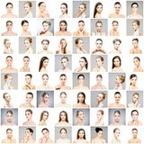 Kolaż różni portrety młode kobiety w makeup Fotografia Royalty Free