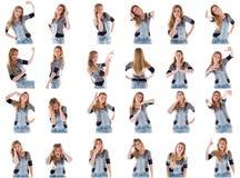 Kolaż różni wyrazy twarzy Zdjęcie Stock