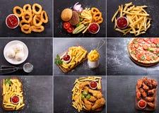 Kolaż różnorodni fastów food produkty zdjęcia royalty free