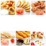 Kolaż różnorodni fastów food produkty na białym tle obrazy royalty free