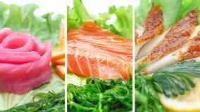 Kolaż różnorodni owoców morza produkty na białym tle zdjęcie royalty free