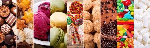 Kolaż różnorodni typy cukierków produkty zdjęcia royalty free