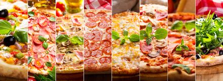 Kolaż różnorodni typy pizza zdjęcia stock
