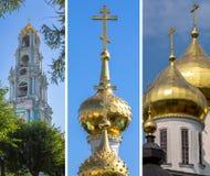 Kolaż różny złoty cupola ortodoksyjny kościół Fotografia Royalty Free