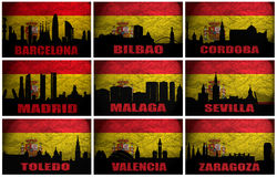 Kolaż sławni Hiszpańscy miasta Fotografia Stock