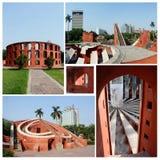 Kolaż sławny Delhi punkt zwrotny, astronomiczny obserwatorium Jantar Mantar Zdjęcie Royalty Free