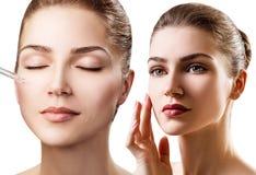 Kolaż stosuje elementarza olej na twarzy młoda kobieta Obrazy Stock
