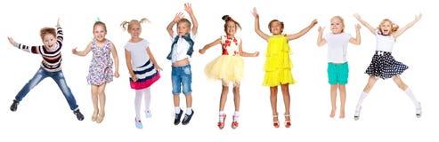 Kolaż, szczęśliwi dzieci skacze Obraz Royalty Free