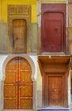 Kolaż tradycyjni starzy Marokańscy drzwi Zdjęcie Royalty Free
