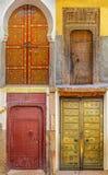Kolaż tradycyjni starzy Marokańscy drzwi Fotografia Royalty Free