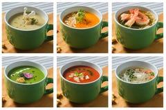 Kolaż ustalone kremowe polewki one rozrastają się, brokuły, warzywa, pomidory, kluski, i kurczak i owoce morza Zdjęcia Stock
