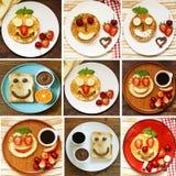 Kolaż, ustawia śniadaniowych bliny z jagodami & x28; truskawka, wiśnia, banana& x29; zdjęcie royalty free