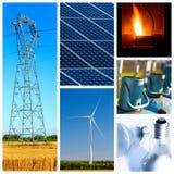Kolaż władza, energia produkty i pojęcia i Obrazy Royalty Free