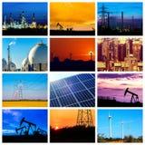 Kolaż władzy i energii pojęcia fotografia stock